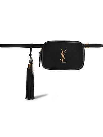 Saint Laurent Lou Leather-trimmed Quilted Velvet Belt Bag - Black