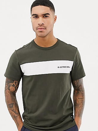 G-Star G-star Rodis stripe panel t-shirt in khaki - Green
