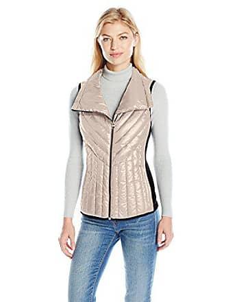 Calvin Klein Performance Womens Down Filled Asymmetric Collar Quilted Vest, Metallic/Dancer, M
