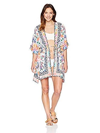 La Blanca Womens Cover-Up Kimono Dress, White/Floral, Small/Medium