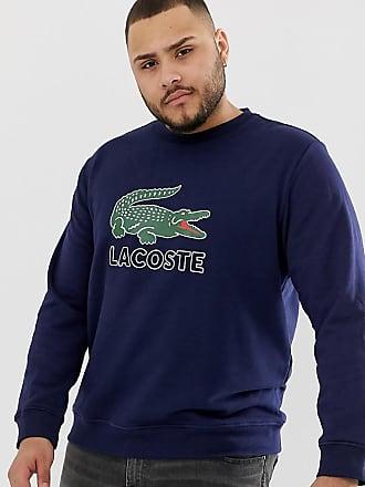 9d5d9f4e15c Lacoste Marinblå sweatshirt med rund halsringning och stor logga - Marinblå
