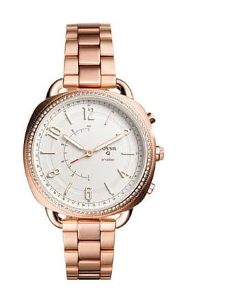 Zales Ladies Fossil Q Accomplice Crystal Accent Rose-Tone Hybrid Smart Watch with White Dial (Model: Ftw1208)