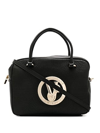 Versace Jeans Couture logo plaque tote bag - Black