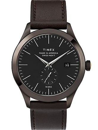Timex Watch Mens American Documents 41MM Leather Strap Gunmetal/brown/black Item Tw2R83000Us