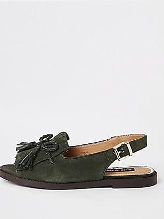 2925b55b7f1 River Island Womens Khaki suede tassel front peep toe sandal
