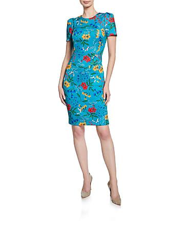 Iconic American Designer Floral Printed Crepe Sheath Dress