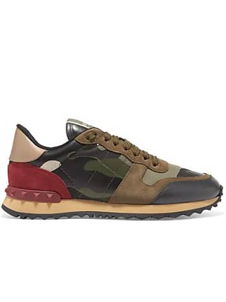 Valentino Valentino Garavani Leather And Suede-trimmed Camouflage-print Canvas Sneakers - Army green