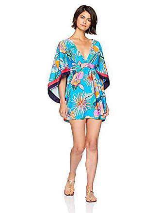 aba2554b03 Trina Turk Womens V-Neck Tunic Dress, Tahiti Tropical/Pacific Blue, L