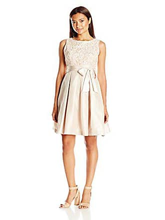 3f5605c2ef64 Jessica Howard Womens Petite Sleeveless Fit and Flare Soutache Dress,  Champagne, 4P