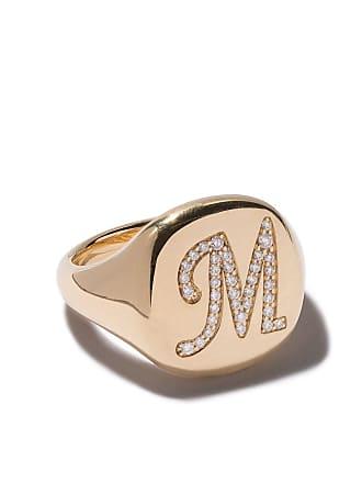 David Yurman 18kt yellow gold Cable Collectibles diamond M initial pinky signet ring - 88Adi
