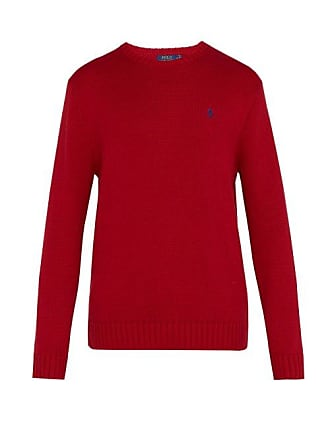 Polo Ralph Lauren Logo Embroidered Knit Cotton Sweater - Mens - Red