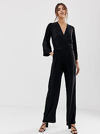 Y.A.S satin wrap jacquard floral wide leg jumpsuit - Black