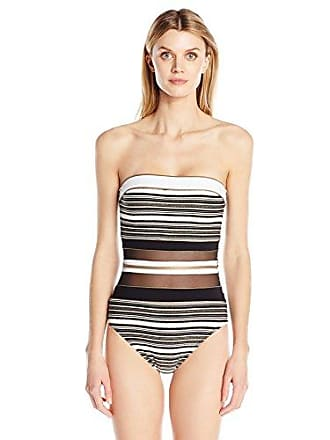 9379dea343c Gottex Womens Sheer Paneled Textured Print Bandeau One Piece Swimsuit,  Regatta Black/White/