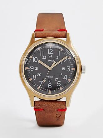 ef157fa3c4a4 Timex Reloj de pulsera de cuero marrón de 40 mm de acero MK1 de Timex