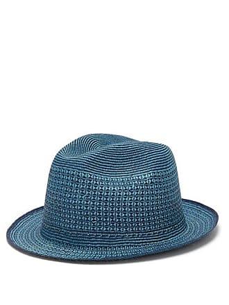 Guanabana Geometric Straw Panama Hat - Mens - Blue Multi
