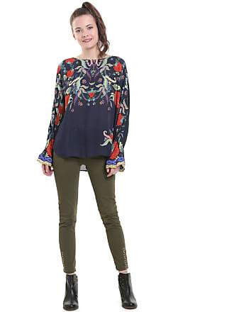 Desigual Langärmelige Bluse mit rundem Ausschnitt und Blumenmuster - BLAU -  DESIGUAL 1579177687d