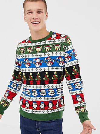 Threadbare Tall Jacquard Holidays Sweater - Green