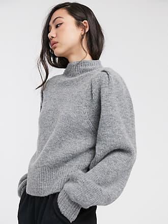 Weekday Sadie - Grauer Pullover mit Puffärmeln-Grün