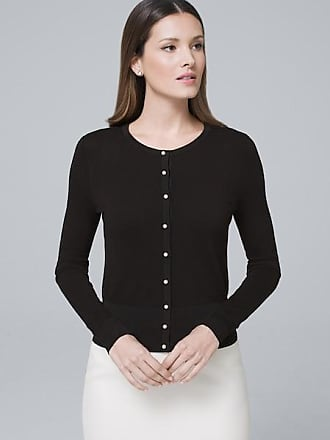 White House Black Market Womens Woven-Back Cardigan by White House Black Market, Black, Size XXS