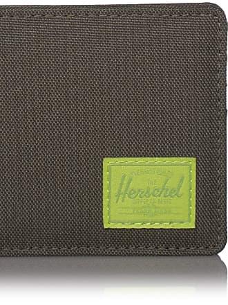 Herschel Herschel Mens Roy + Coin RFID Bi-Fold Wallet, Dark Olive/Lime Green, One size