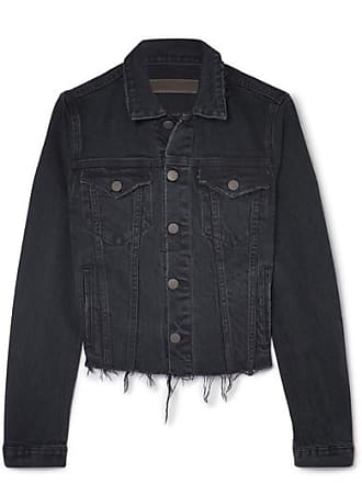 GRLFRND Cara Distressed Denim Jacket - Dark denim