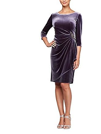 Alex Evenings Womens Velvet Dress with Sleeve and Hip Detail (Regular and Petite), Amethyst, 14
