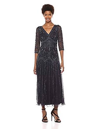 cabf77d6a38 Pisarro Nights Womens Double v-Neck Long Dress with Beaded Motif Details