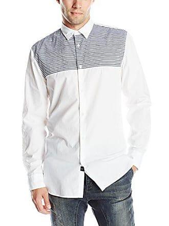 Zanerobe Mens Seven FT Long Sleeve Shirt, White/Dark Navy, Medium