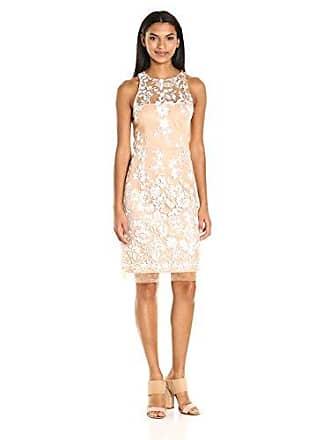 Betsey Johnson Womens Embroidered Mesh Sheath Dress, Nude/Ivory 10