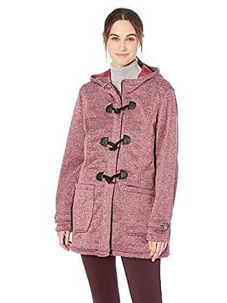 Yoki Womens Plus Size Toggle Fleece Jacket, BUGUNDY Space DYE, 3X