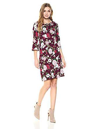 Star Vixen Womens Bell Sleeve Keyhole Back Dress, Burgundy Ground Floral, Large