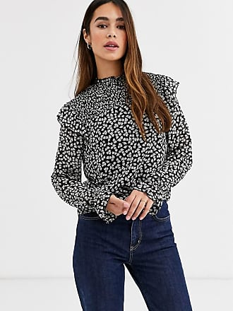 Warehouse little leaf high neck ruffle smock blouse in floral print-Black