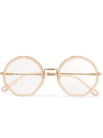 b7a24c1e4a0 Chloé Tilda Round-frame Acetate And Gold-tone Optical Glasses - Beige