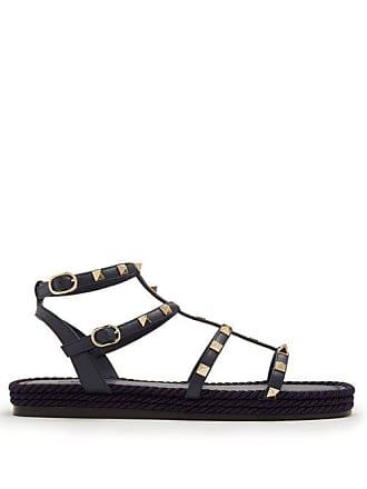 Valentino Torchon Rockstud Leather Sandals - Womens - Navy