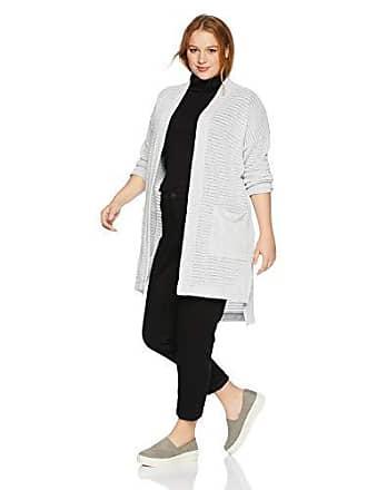 Jones New York Womens Plus Size Striped Cardigan W/Pockets, Silver/Grey 2X