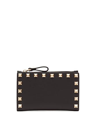 Valentino Rockstud Leather Card And Coin Purse - Womens - Black