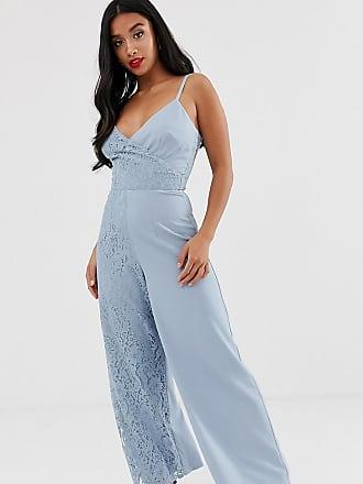 Little Mistress Petite cami strap wide leg jumpsuit with lace detail-Blue