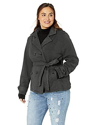 Yoki Womens Plus Size Double Breast Fleece Jacket, Charcoal, 1X