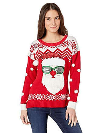 b364e5aff4cf4 Blizzard Bay Womens Long Sleeve Crew Neck Cool Santa Christmas Sweater,  red, Small