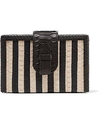 Ximena Kavalekas Mandolin Striped Python Clutch - Black