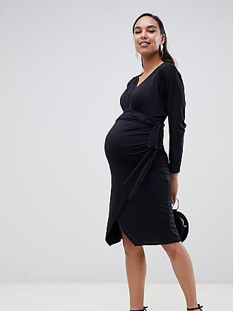 56db38473 Asos Maternity Vestido midi elegante con diseño cruzado y anudado de ASOS  DESIGN Maternity