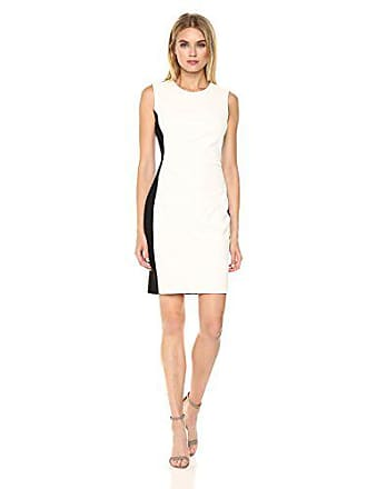 d44a07d6 Tommy Hilfiger Womens Scuba Crepe Dress with Side Gathering, Ivory/Black, 10