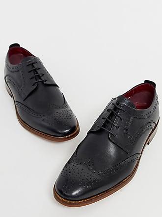c3703c9daba95 Base London Wide Fit Motif brogues in black leather - Black