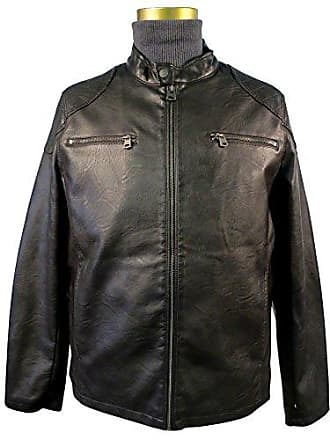 Levi's Mens Faux Leather Racer Jacket with 2 Zipper Chest Pockets, Dk. Brown, Medium