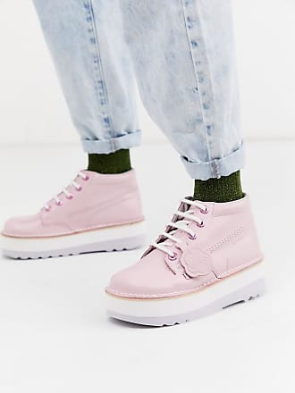 Kickers high stack leather boots in pink