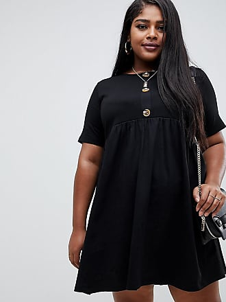 fdaf0786d7 Asos Curve ASOS DESIGN Curve mixed fabric mini smock dress with faux horn  button
