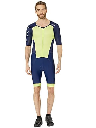 2XU Perform Full Zip Sleeved Trisuit (Navy/Limeade) Mens Wetsuits One Piece