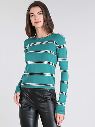 Basics Suéter Feminino Básico em Tricô Listrado Decote Redondo Verde Água