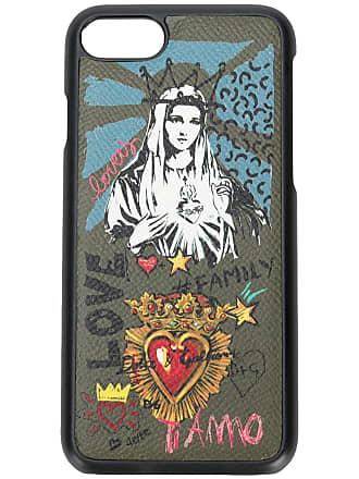 Dolce & Gabbana Capa para iPhone 8 Madonna de couro - Verde