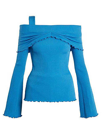 Ellery Limozeen Off The Shoulder Ribbed Top - Womens - Blue